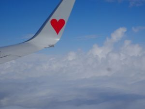 飛行機の羽に赤いハートが描かれている