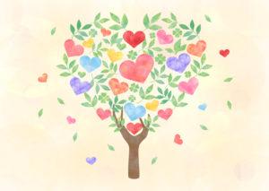 葉っぱと花_ハート形の木イラスト